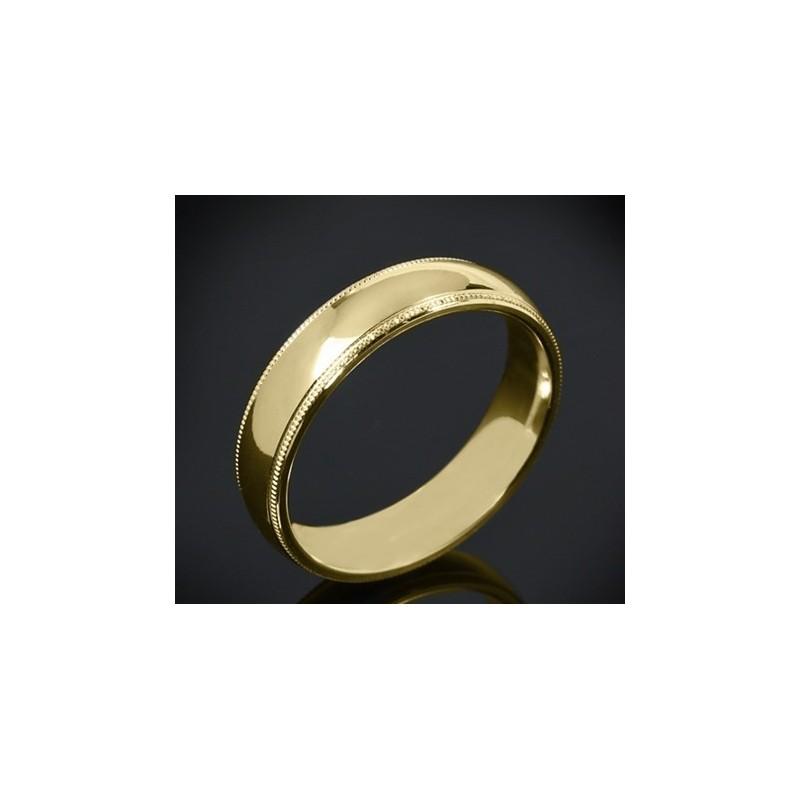 Класическа брачна халка изработена от 18к злато с широчина 5.0 мм и дебелина 2.0