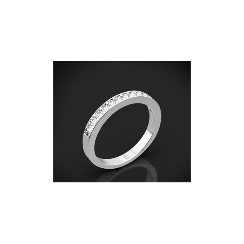 """Диамантена брачна халка от колекцията """"Звездно небе"""", изработена от 18к злато, с широчина 2,7 мм и 12 диаманта с общо тегло 0,35"""