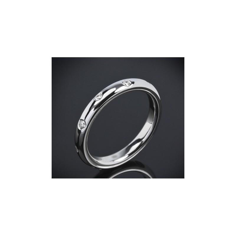 """Диамантена брачна халка от колекцията """"Звездно небе"""", изработена от 14к злато, с широчина 4,0 мм и 10 диаманта с общо тегло 0,24"""