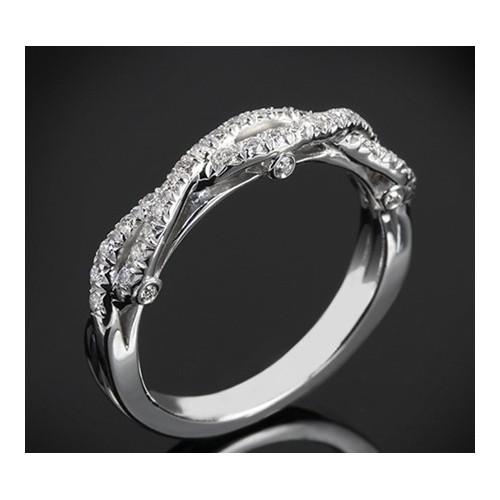"""Диамантена брачна халка от колекцията """"Звездно небе"""", изработена от 18к злато, с широчина 3,7-2,3 мм и диаманти с общо тегло 0,2"""