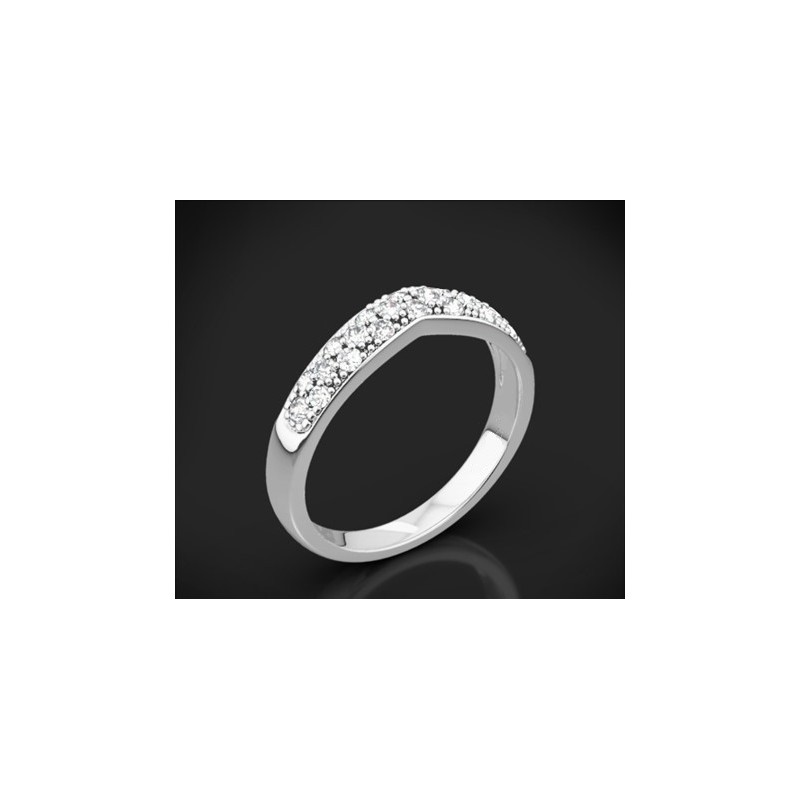 """Диамантена брачна халка от колекцията """"Звездно небе"""", изработена от 18к злато, с широчина 3,4-2,2 мм и 24 диаманта с общо тегло"""