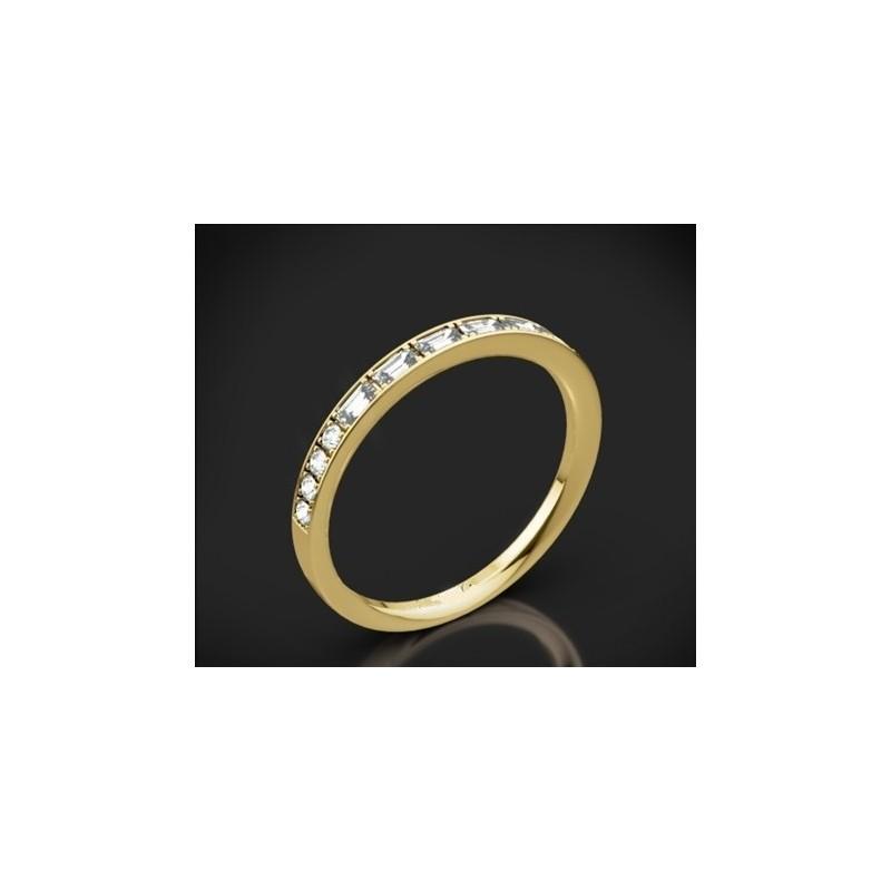 """Диамантена брачна халка от колекцията """"Звездно небе"""", изработена от 18к злато, с широчина 1,8 мм и 14 диаманта с общо тегло 0,28"""