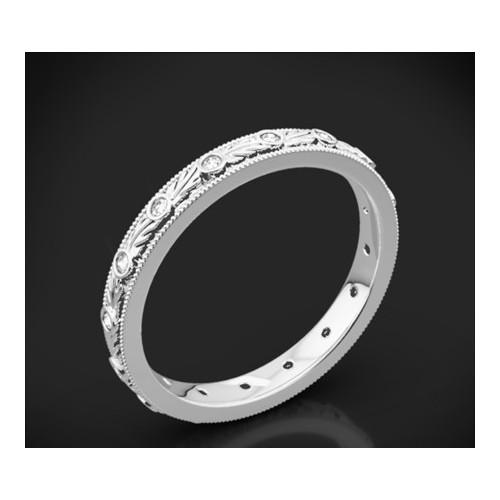 """Диамантена брачна халка от колекцията """"Звездно небе"""", изработена от 18к злато, с широчина 2,8 мм и 16 диаманта с общо тегло 0,07"""