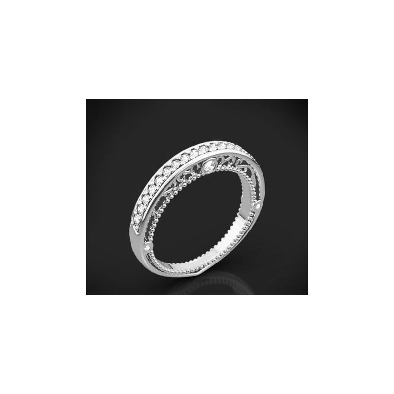 """Диамантена брачна халка от колекцията """"Звездно небе"""", изработена от 18к злато, с широчина 3,1-2,5 мм и 25 диаманта с общо тегло"""