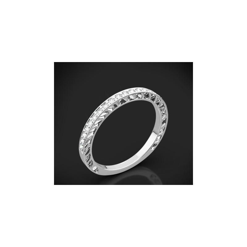 """Диамантена брачна халка от колекцията """"Звездно небе"""", изработена от 18к злато, с широчина 1,8 мм и 20 диаманта с общо тегло 0,13"""