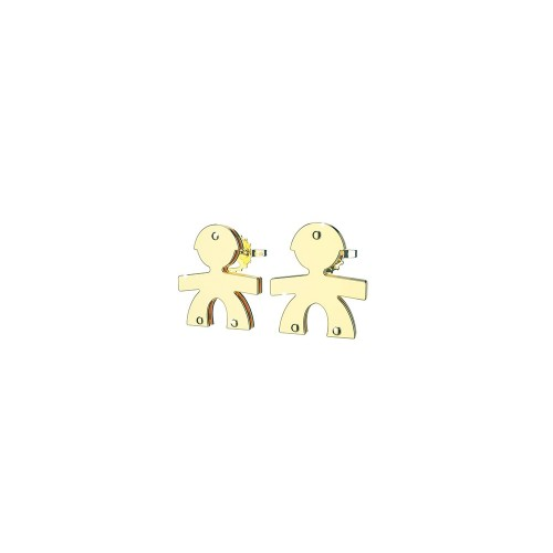 Earrings with a male in 9K Yellow gold