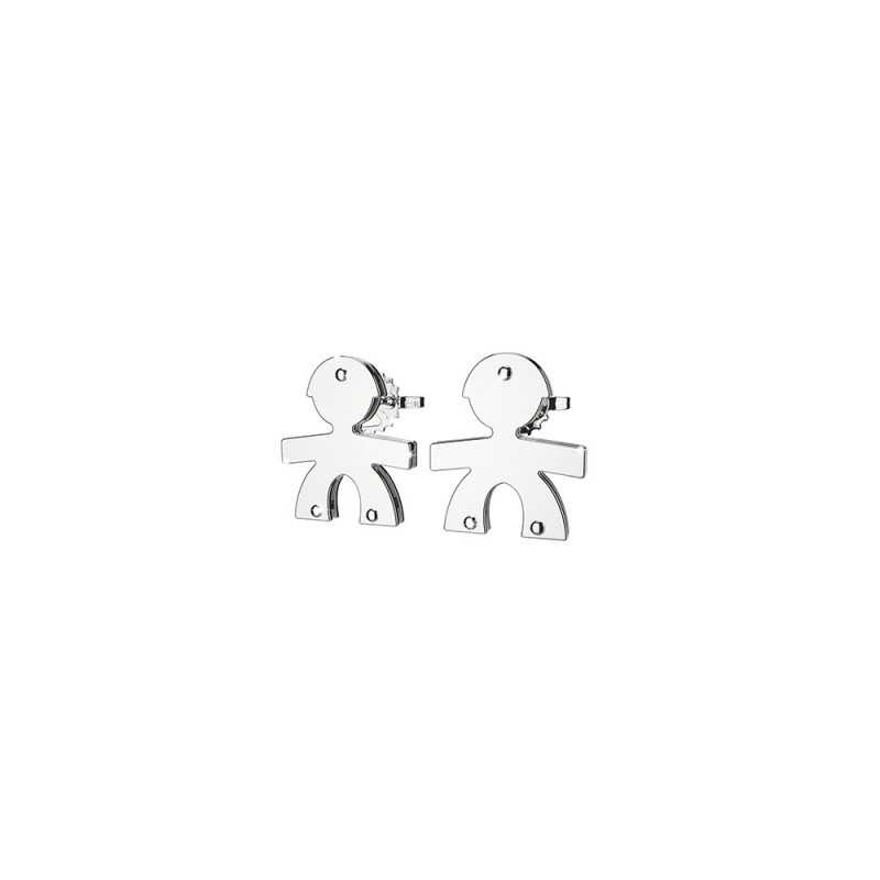 Earrings with a male in 9K White Gold