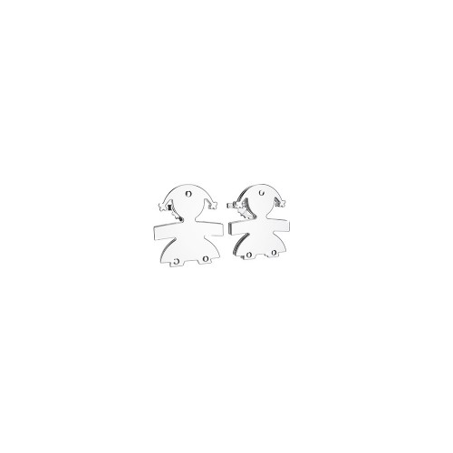 Earringd with a girl in 9K White Gold.