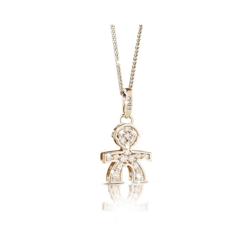 18K YG pendant in a boy shape with 0.14 ct diamonds