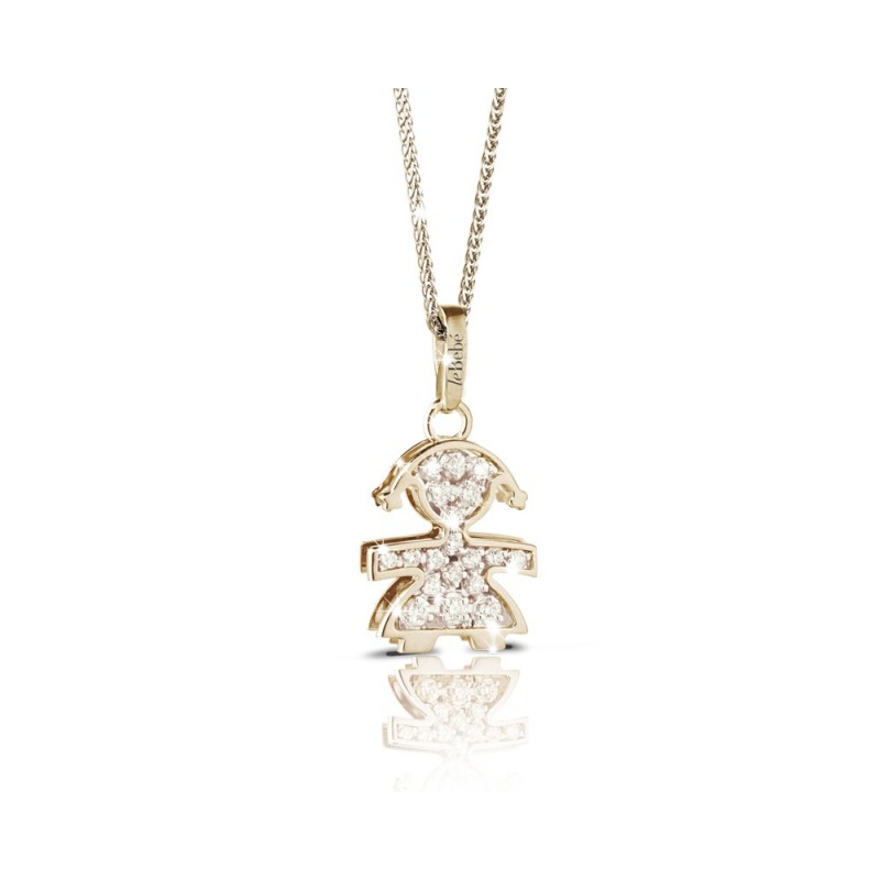 18K YG pendant in a girl shape with 0.15 ct diamonds