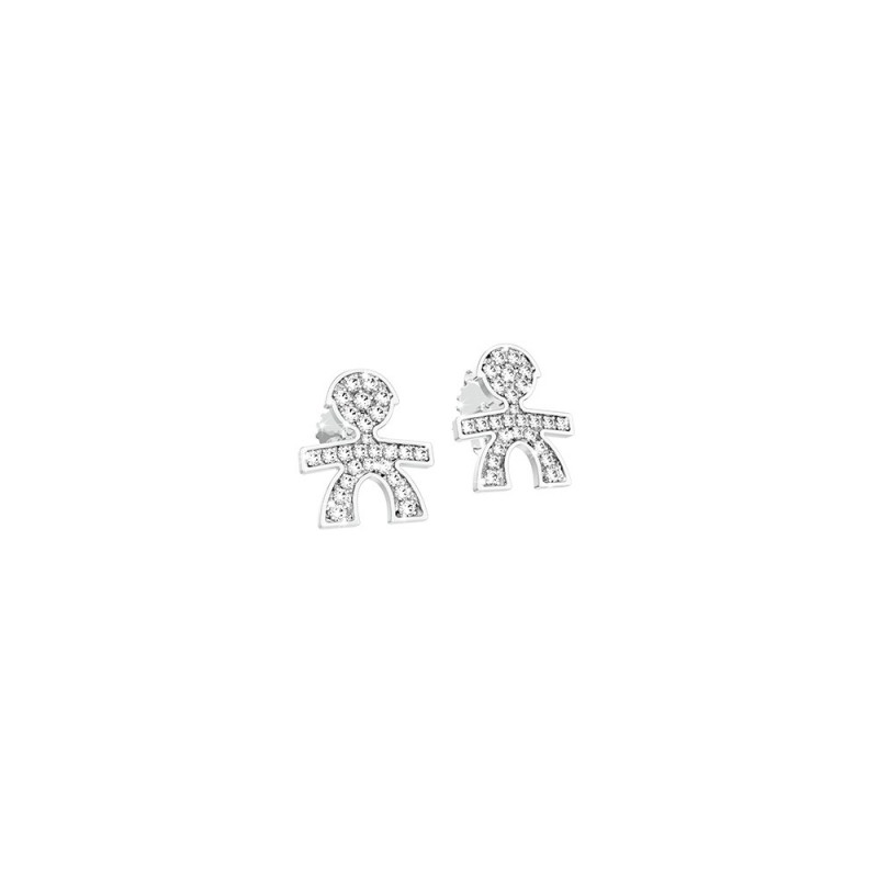 Cuff Earrings 18K WG in a boy shape with 0.10 ct diamonds