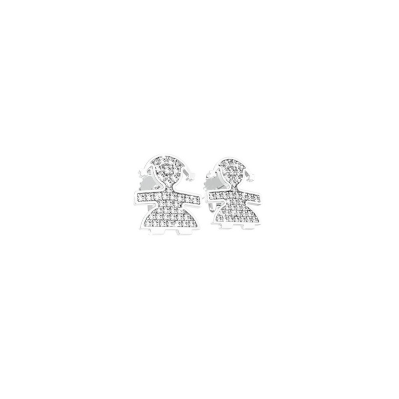 Cuff Earrings 18K WG in a girl shape with 0.10 ct diamonds