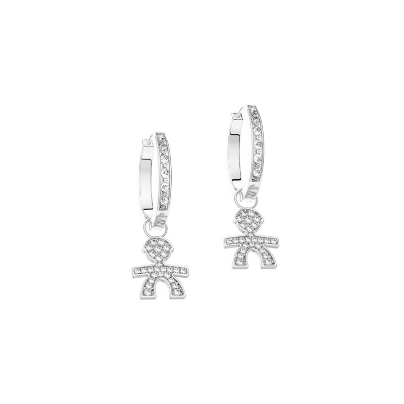 C-hoop Earrings 18K WG in a boy shape with 0.23 ct diamonds