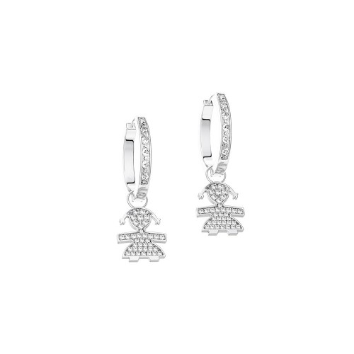 C-hoop Earrings 18K WG in a girl shape with 0.23 ct diamonds