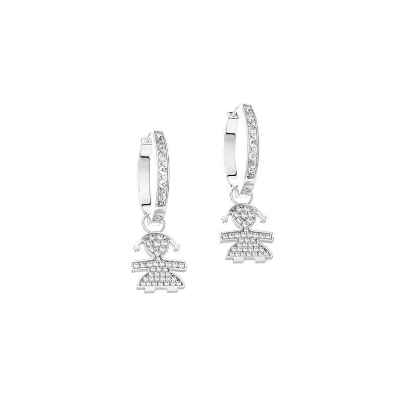 C-hoop Earrings 18K WG in a girl shape with 0.23 ct diamonds