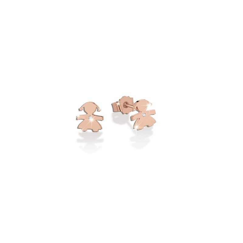 18K Earring in PG with 0.003ct diamond
