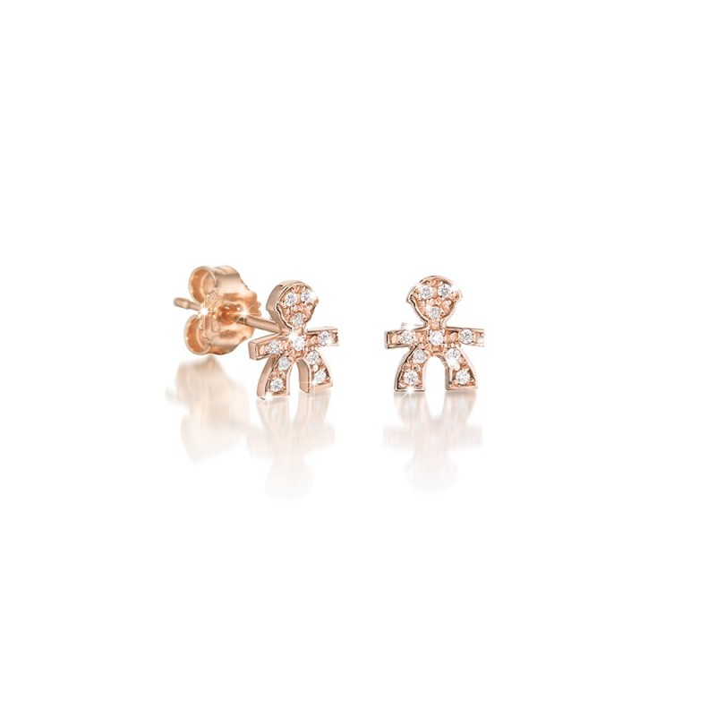 18K Earring in PG with 0.03ct diamond
