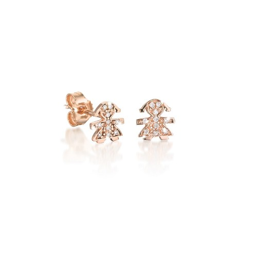 18K Earring in PG with 0.03ct diamonds