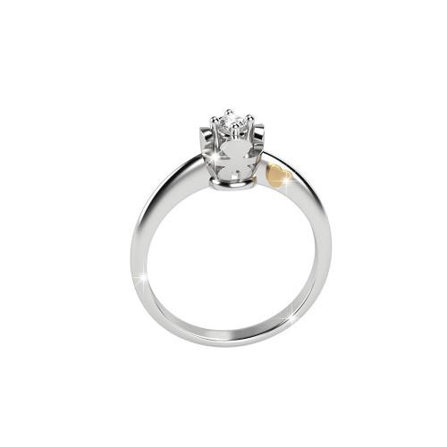 Дамски пръстен солитер от 18K бяло злато с диамант
