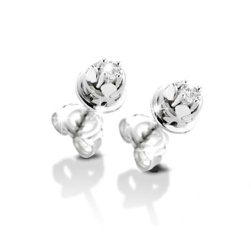 18K WG Earrings bazel model with diamonds