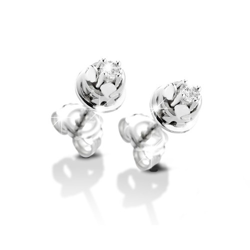 18K WG Earrings bazel model with diamonds