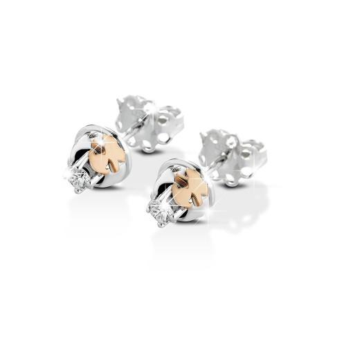 Обеци за мама от 18K бяло злато с диаманти