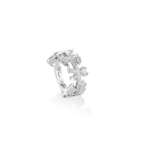 """Пръстен """"GHIRLANDE"""" от 18K бяло злато с диаманти"""