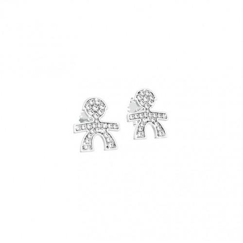Cuff Earrings 18K WG in a boy shape with 0.10 ct diamonds