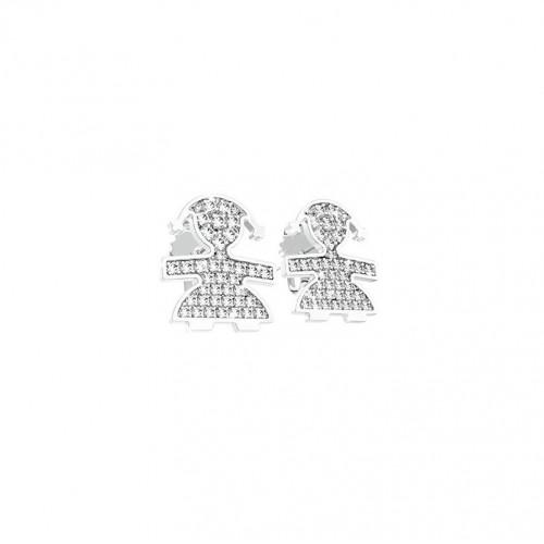 Cuff Earrings 18K WG in a girl shape with 0.10 ct diamonds