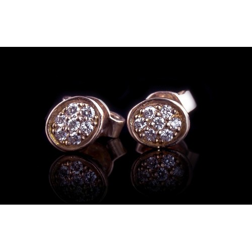 """Earrings """"Edge"""", 14K yellow gold, 14 diamonds with a weight of 0.14ct."""