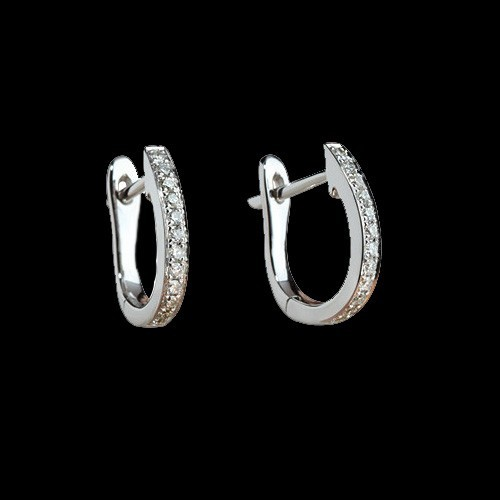 "Earrings ""Fortune"", 18K white gold, 22 diamonds with a weight of 0.17ct."