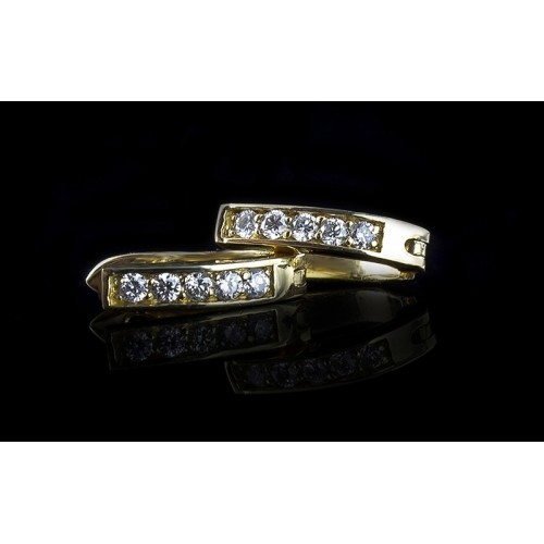 """Earrings """"Pendant"""", 14K yellow gold, 10 diamonds with a weight of 0.15ct."""