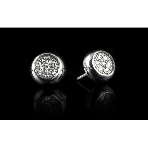 """Earrings """"Endless Breath"""", 18K white gold, 14 diamonds with a weight of 0.10ct."""