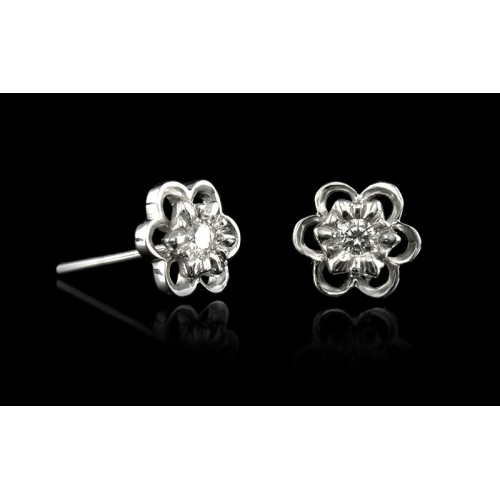 """Earrings """"The Secret Love"""", 18K white gold ,2 diamonds with a weight of 0.092ct."""