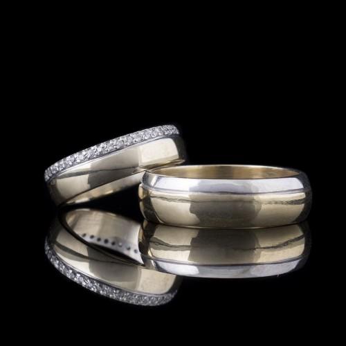 Комплект брачни халки с диаманти модел R101