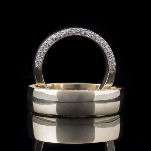 Комплект брачни халки с диаманти модел R103