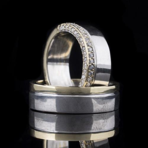 Комплект брачни халки с диаманти модел R104