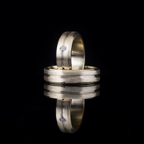 Комплект брачни халки с диаманти модел R107