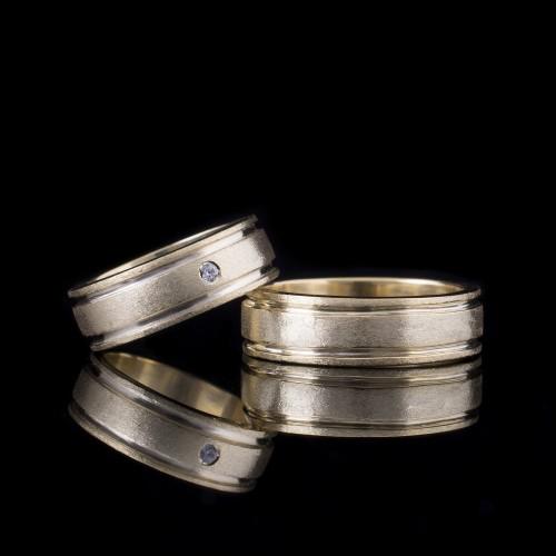 Комплект брачни халки с диаманти модел R108