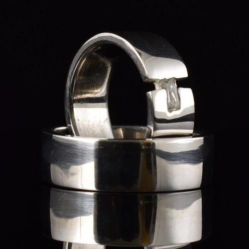 Комплект брачни халки с диаманти модел R112