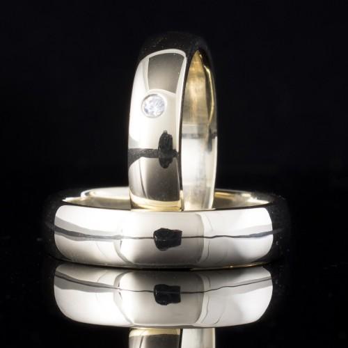Комплект брачни халки с диаманти модел R118