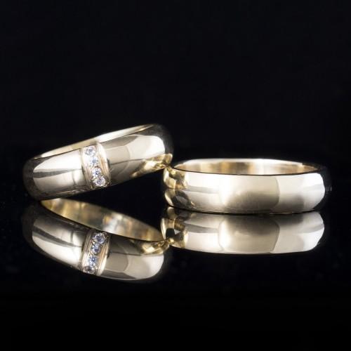 Комплект брачни халки с диаманти модел R119