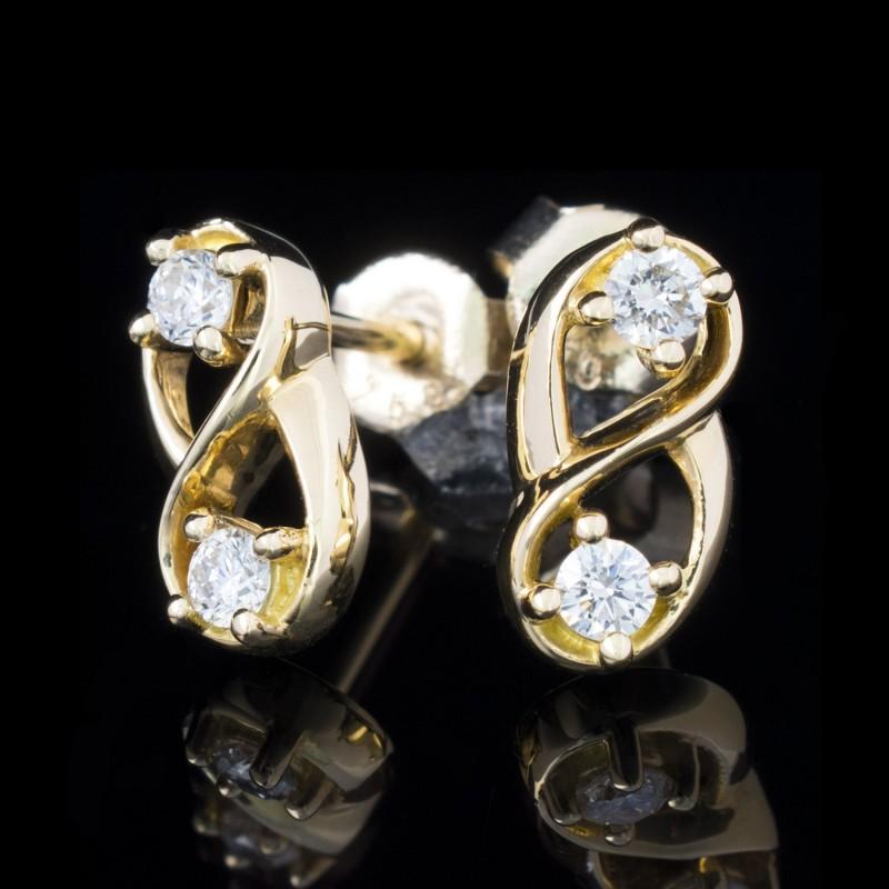 Обеци 18K жълто злато, 2 диаманта с тегло 0.24ct.
