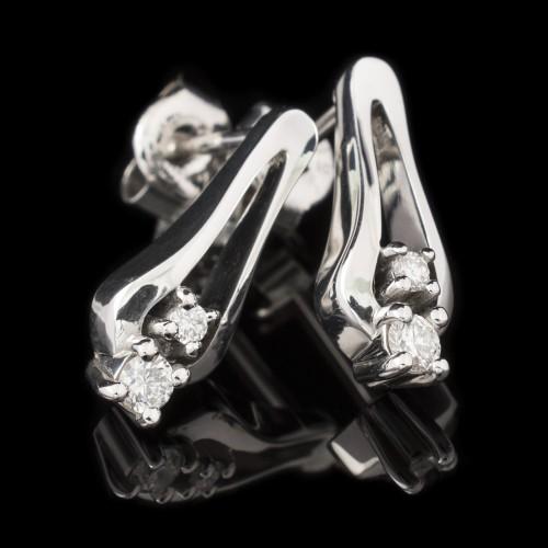 Обеци 18K бяло злато, 4 диаманта с тегло 0.16ct.