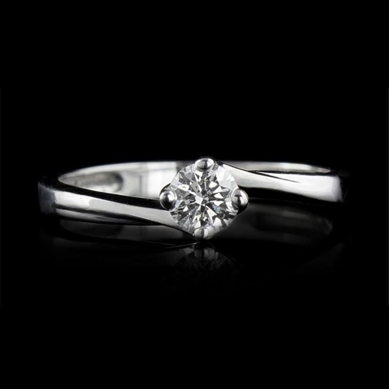 Годежен пръстен 18К злато, 1 диамант с общо тегло 0.3ct.