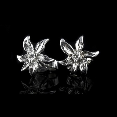 "Earrings ""Prestige"", 18K white gold, 2 diamonds with a weight of 0.08ct."