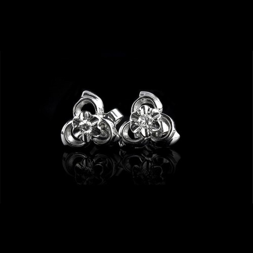 "Earrings ""Cosmic Hug"", 18K white gold, 2 diamonds with a weight of 0.105ct."
