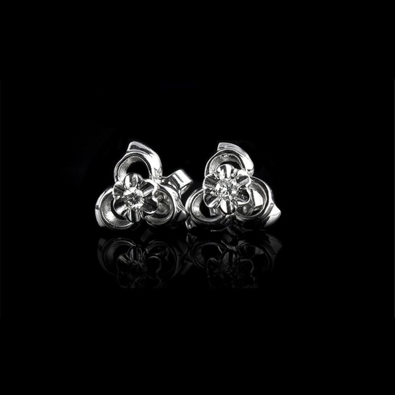 """Earrings """"Cosmic Hug"""", 18K white gold, 2 diamonds with a weight of 0.105ct."""