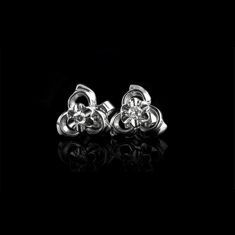 """Обеци """"Космическа прегръдка"""", 18К бяло злато, 2 диаманта с тегло 0.105ct."""