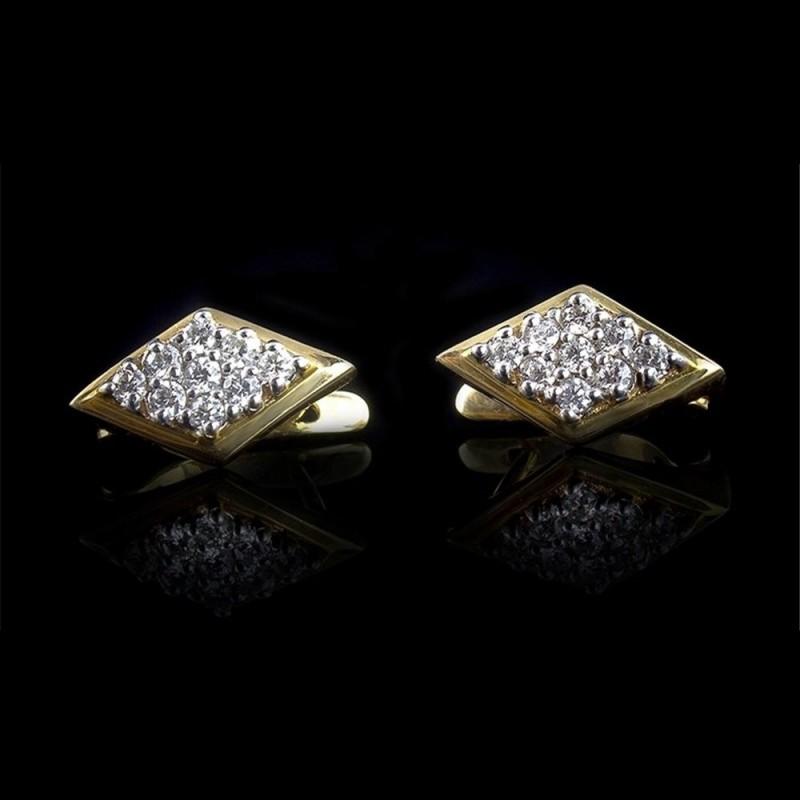 """Обеци """"Земя"""", 14К жълто злато, 18 диаманта с тегло 0.48ct."""